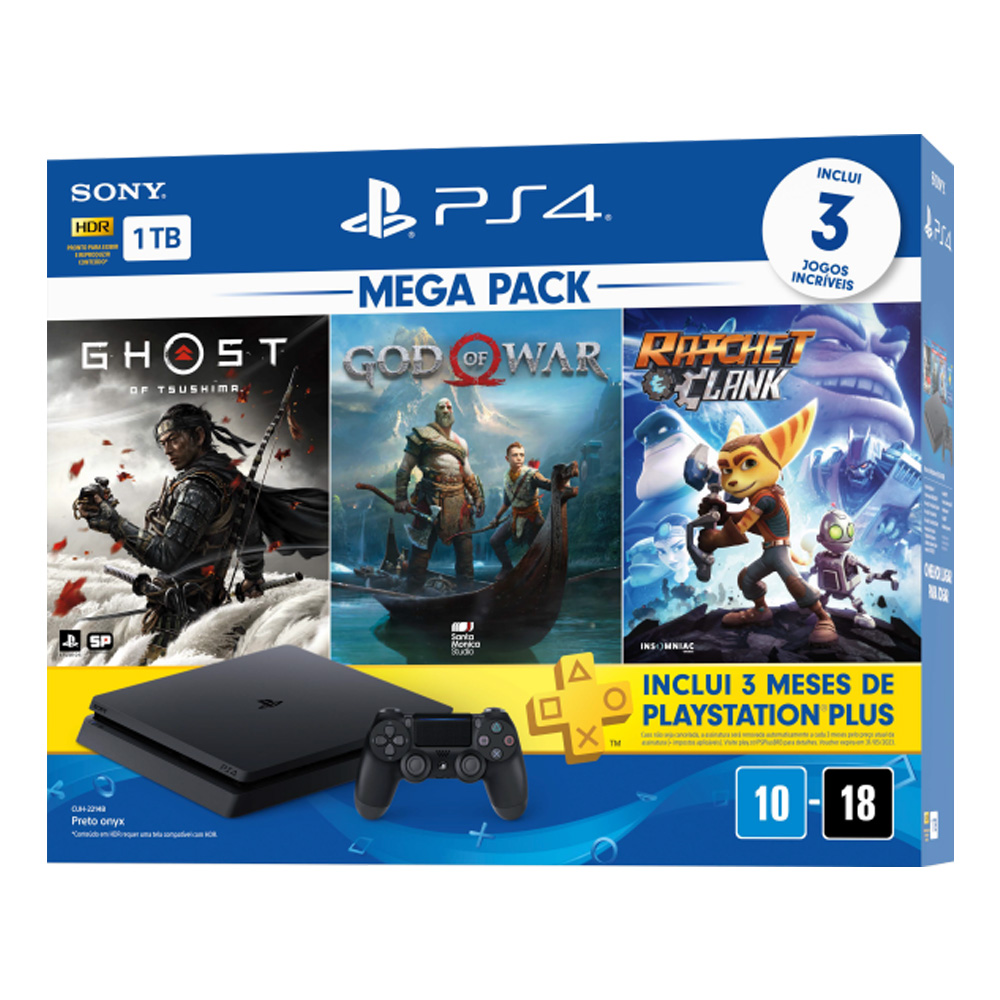 Console Playstation 4 Slim 1TB Bundle 18 - God of War + Ratchet and Clank + Ghost of Tsushima 3 Meses Playstation Plus