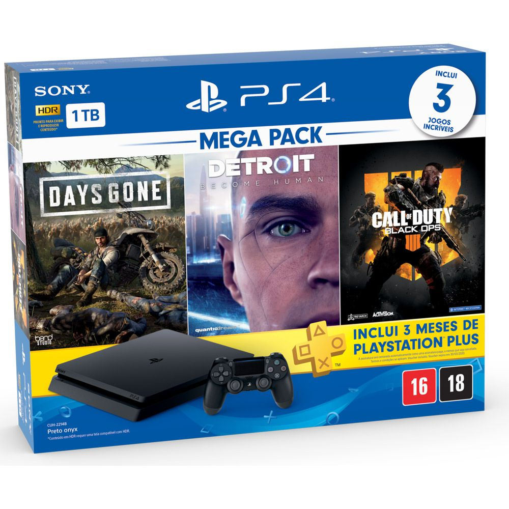 Console Playstation 4 Slim 1TB Bundle Hits Days Gone, Detroit, Call of Duty Black Ops 4 - Sony Brasil