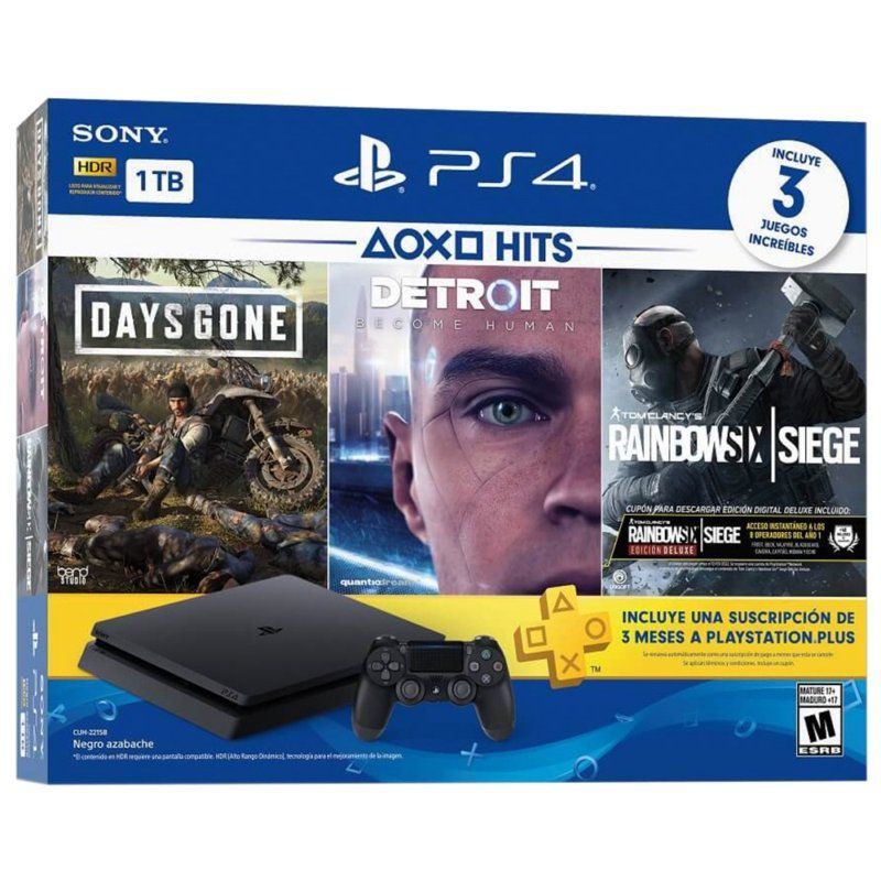 Console Playstation 4 Slim 1TB Bundle Hits Days Gone, Detroit, Rainbow Six Siege - Sony