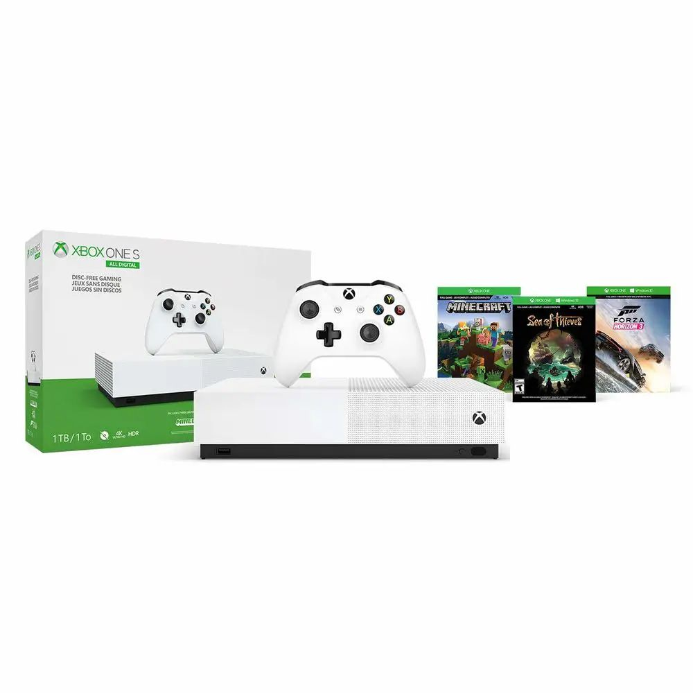 Console Xbox One S 1TB All - Digital Edition - Minecraft, Sea of Thieves, Forza Horizon 3