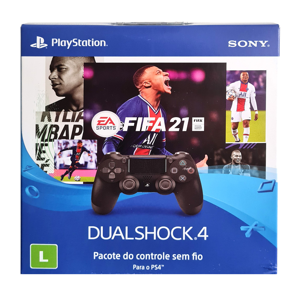 Controle Sony Dualshock 4 com Fifa 21 - PS4