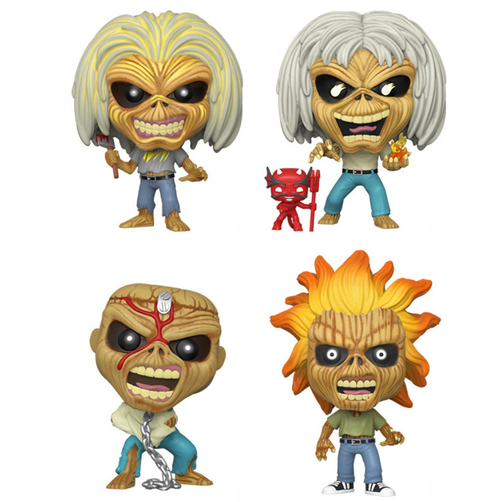 Funko Pop Iron Maiden - Kit 4 Pack Eddie the Head Exclusivo - Brilha no Escuro