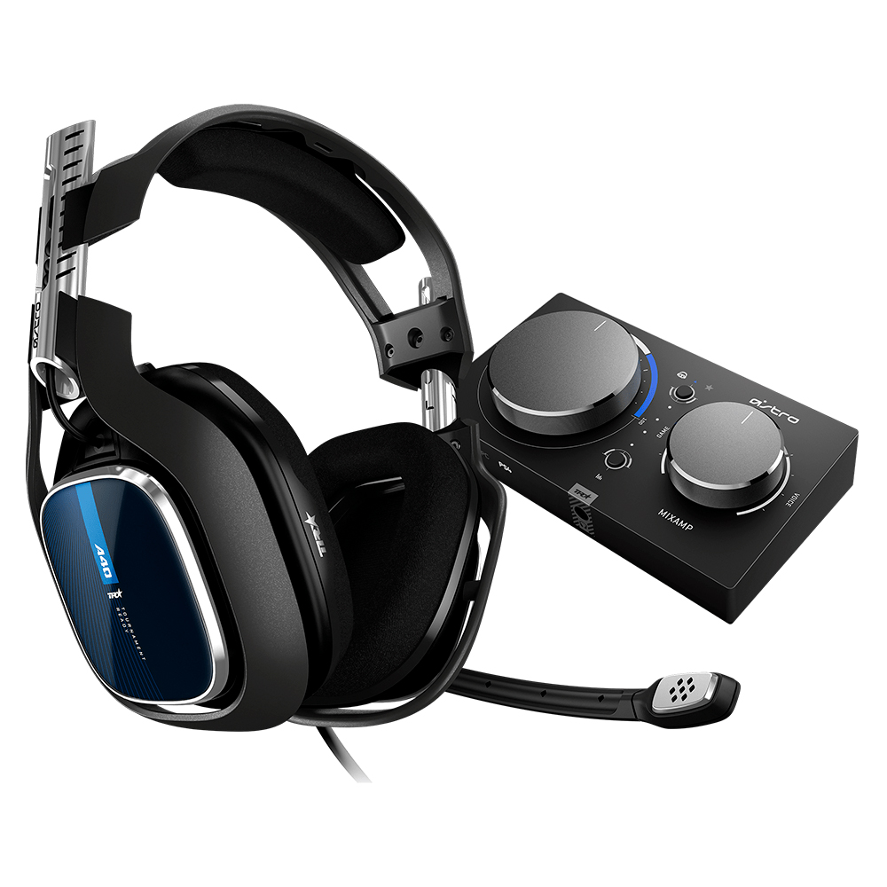 Headset ASTRO Gaming A40 TR + MixAmp Pro TR Gen 4 com Áudio Dolby para PS4, PS5, Xbox, PC, Mac - Preto/Azul