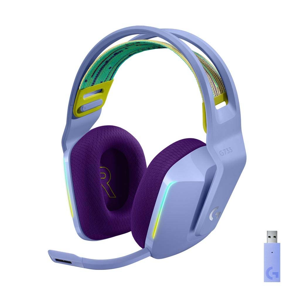 Headset Gamer Sem Fio Logitech G733 RGB Lightsync, 7.1 Dolby Surround com Blue VOICE, Lilás