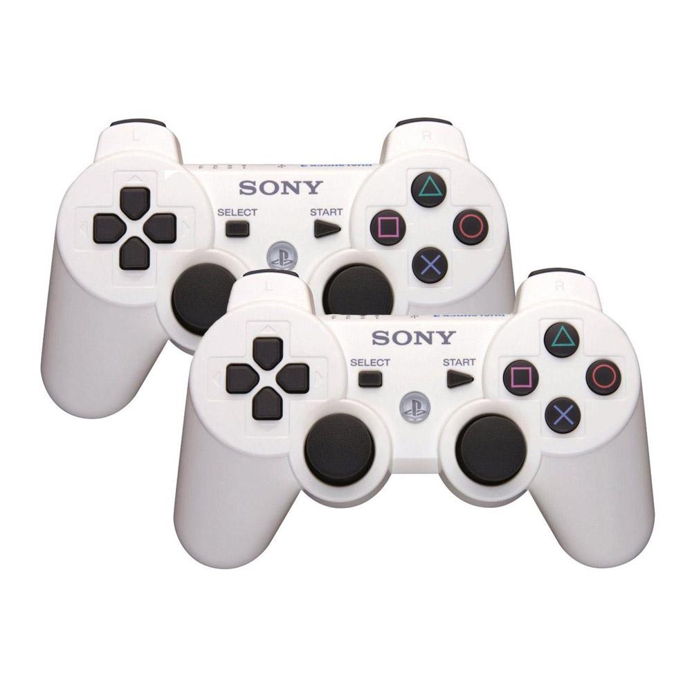 Kit Controle DualShock 3 wireless Compatível com PS3 - 2 unidades Branco