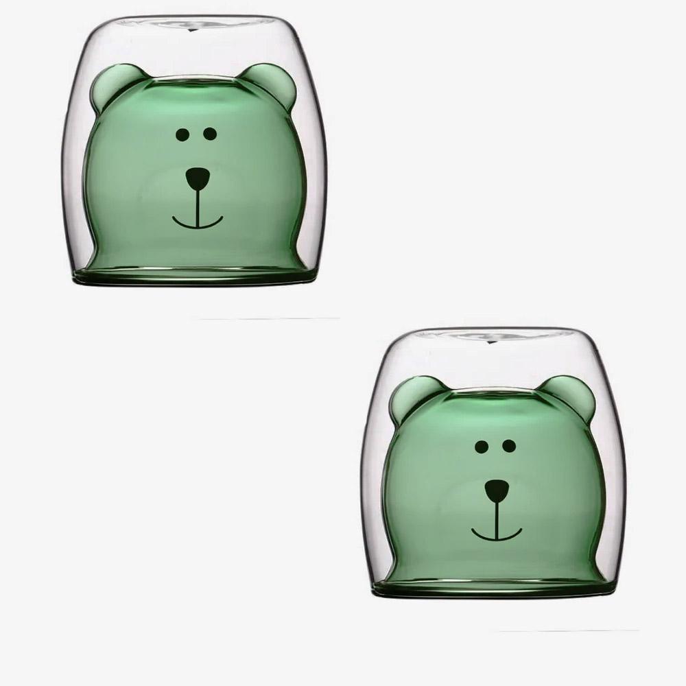 Kit Copo de Vidro Duplo Formato Urso Fundo Verde 280ml - 2 unidades