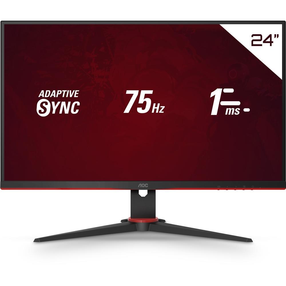 Monitor Gamer AOC Speed 23,8´, W-LED, Antireflexivo, IPS, VESA, Adaptive Sync, Modo Mira, Borda Ultrafinas, HDMI 1.4, 1 ms - 24G2HE5