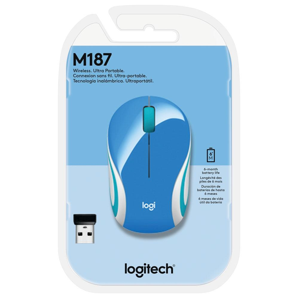Mouse sem fio ultraportátil Logitech M187 Azul