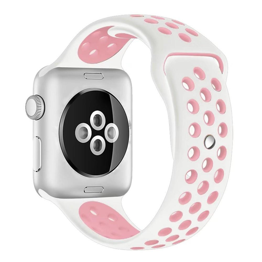 Pulseira para Apple Watch Silicone Sport Branco e Rosa 38MM Flexinter