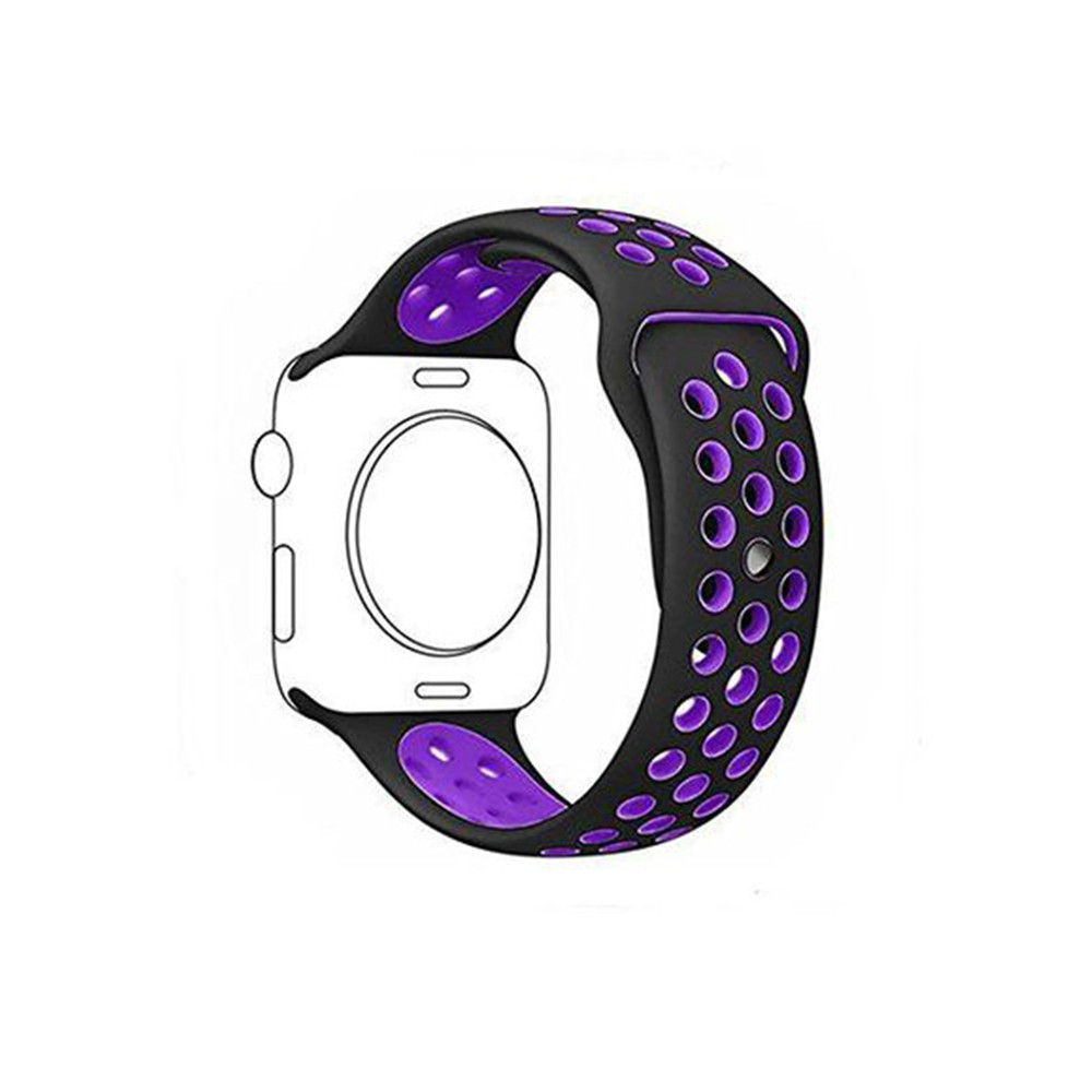 Pulseira para Apple Watch Silicone Sport Preto e Roxo 38MM Flexinter