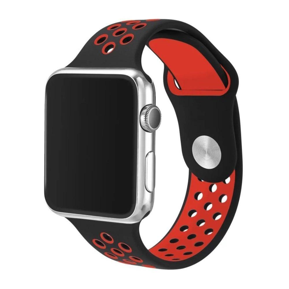 Pulseira para Apple Watch Silicone Sport Vermelho e Preto 42MM Flexinter