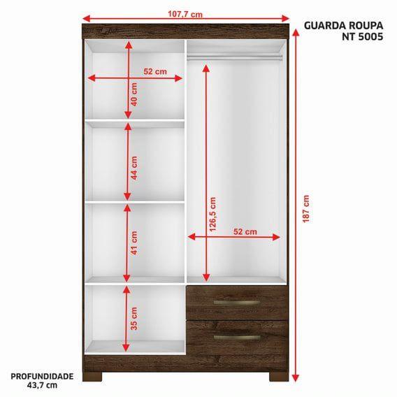 GUARDA-ROUPA SOLTEIRO 4 PORTAS E 2 GAVETAS NOTÁVEL