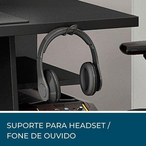 MESA GAMER 4 PRATELEIRAS E SUPORTE PARA HEADSET/FONE DE OUVIDO NOTÁVEL