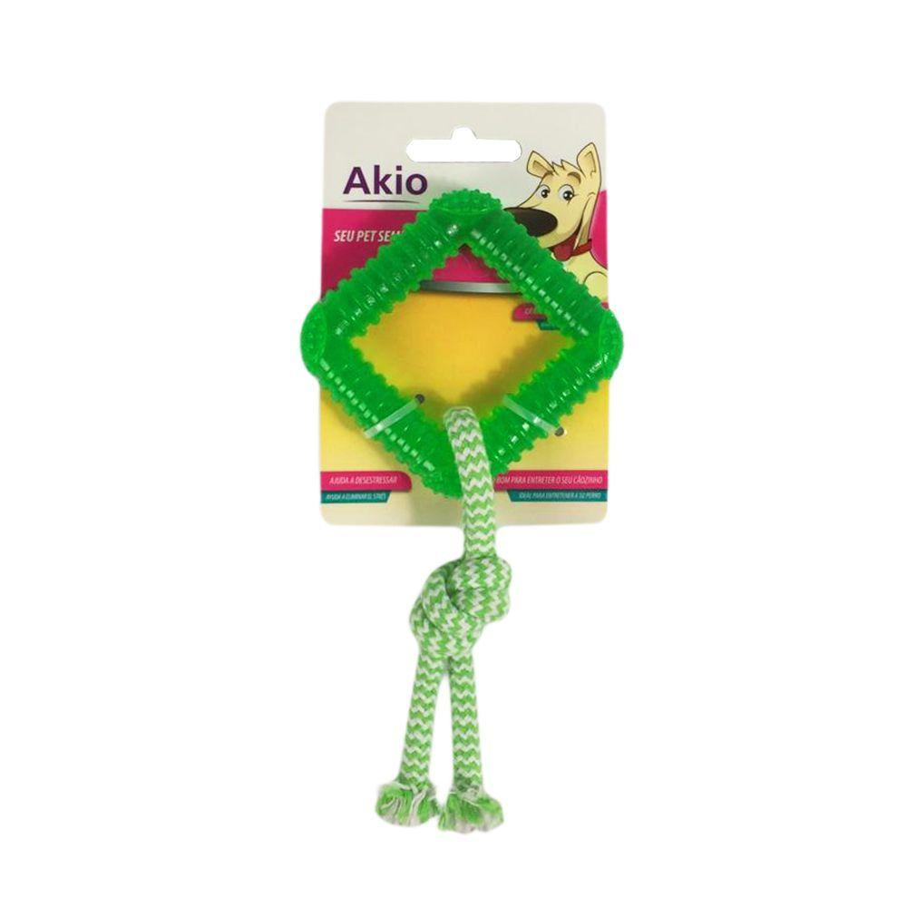 Brinquedo Cachorro Mordedor Quadrado Com Corda Akio