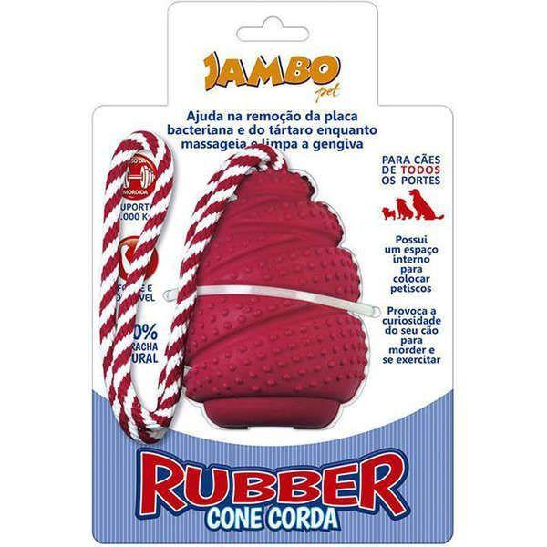 Brinquedo Para Cachorro Rubber Cone Com Corda Vermelho Jambo
