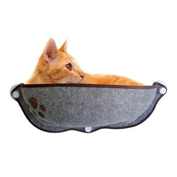 Cama Para Gatos De Janela Com Ventosa Cinza e Rosa