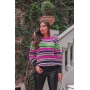 Blusa de Tricot Listras Coloridas Punho Canelado