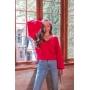 Blusa de Tricot Vermelha Manga Longa Bufante Decote V