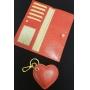 Kit Carteira e Chaveiro de Coração Vermelho