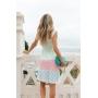 Vestido Curto de Tricot Rayon Colorido de Alça Larga