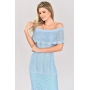 Vestido de Tricot Ciganinha Longo Azul Plus Size