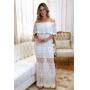 Vestido de Tricot Ciganinha Longo Branco Plus Size