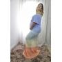 Vestido de Tricot Ciganinha Longo Degrade Plus Size Azul