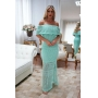 Vestido de Tricot Ciganinha Longo Plus Size Verde Tiffany
