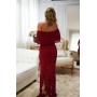 Vestido de Tricot Ciganinha Longo Plus Size Vermelho
