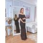 Vestido de Tricot Ciganinha Longo Preto Escamas Plus Size