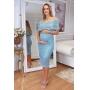 Vestido de Tricot Ciganinha Midi Azul Gestante