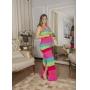 Vestido de Tricot Colorido Longo de Alças