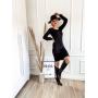 Vestido de Tricot Curto Punho Canelado Preto