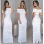 Vestido de Tricot Longo Ombro a Ombro Branco Plus Size