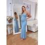 Vestido de Tricot Longo Trançado nas Costas Azul