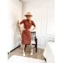 Vestido de Tricot Midi Canelado com Fenda
