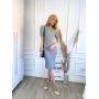 Vestido de Tricot Midi Canelado com Fenda Cinza