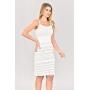 Vestido de Tricot Midi de Alças Branco Plus Size