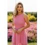 Vestido Longo de Tricot Duo Color Rosa