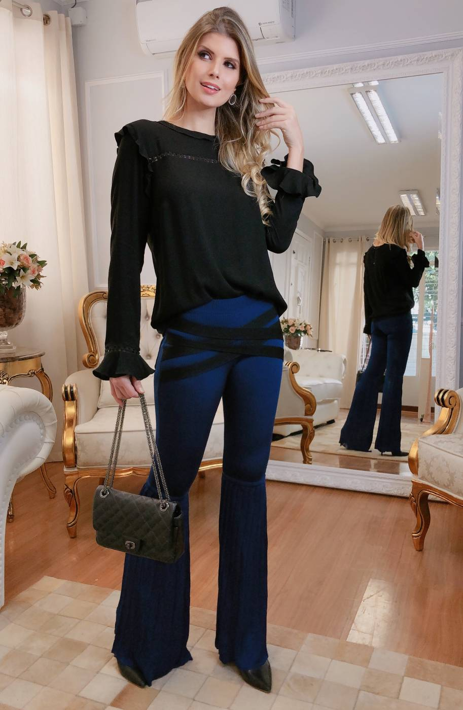 Calça Rayon Cintura Média Barra Plissê Azul Royal