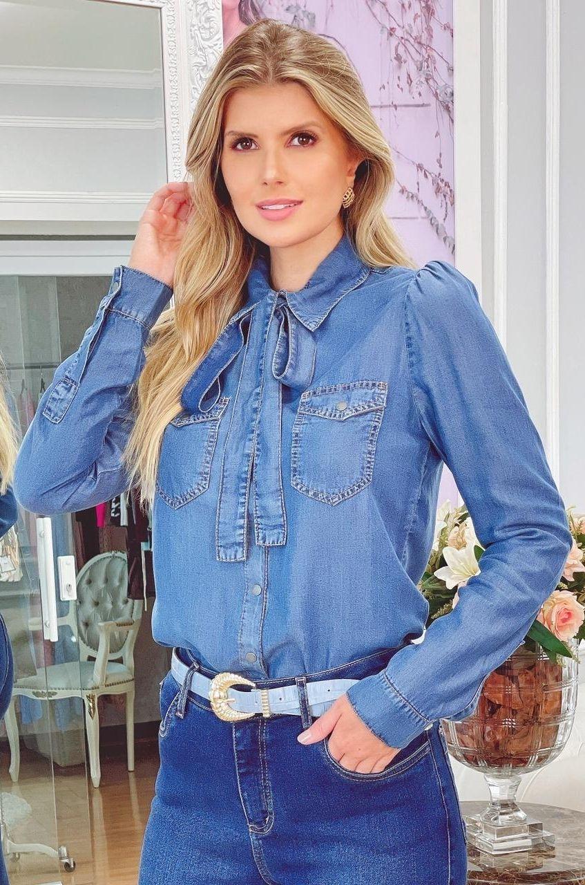 Camisa Jeans com Laço