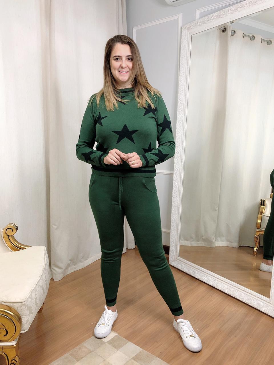 Conjunto Calça e Blusa de Tricot Verde com Estrelas