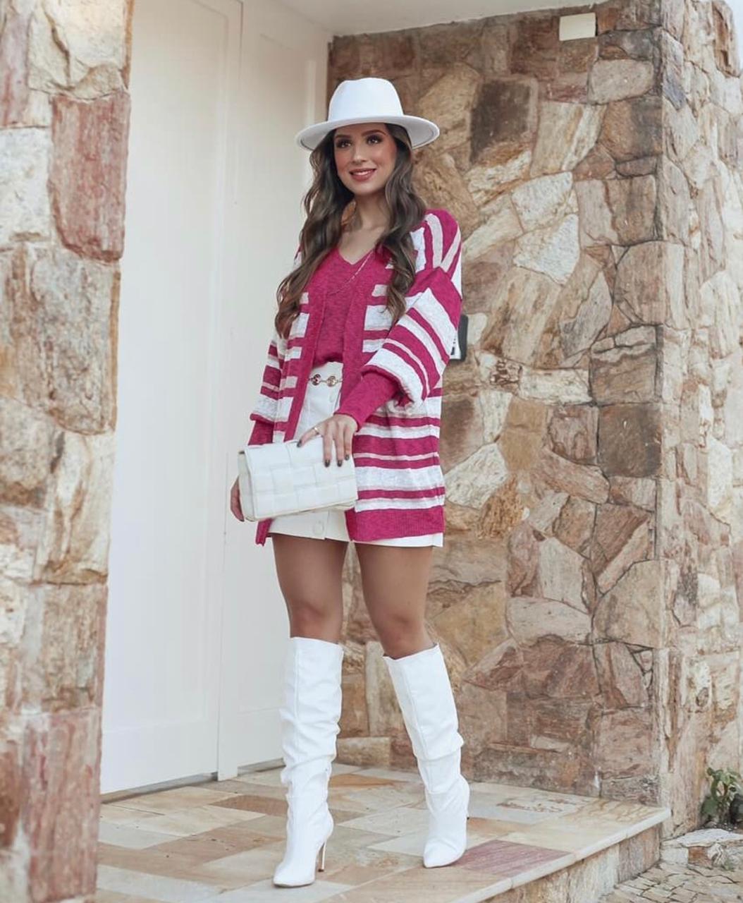 Conjunto Cardigan e Regata Pink e Mescla