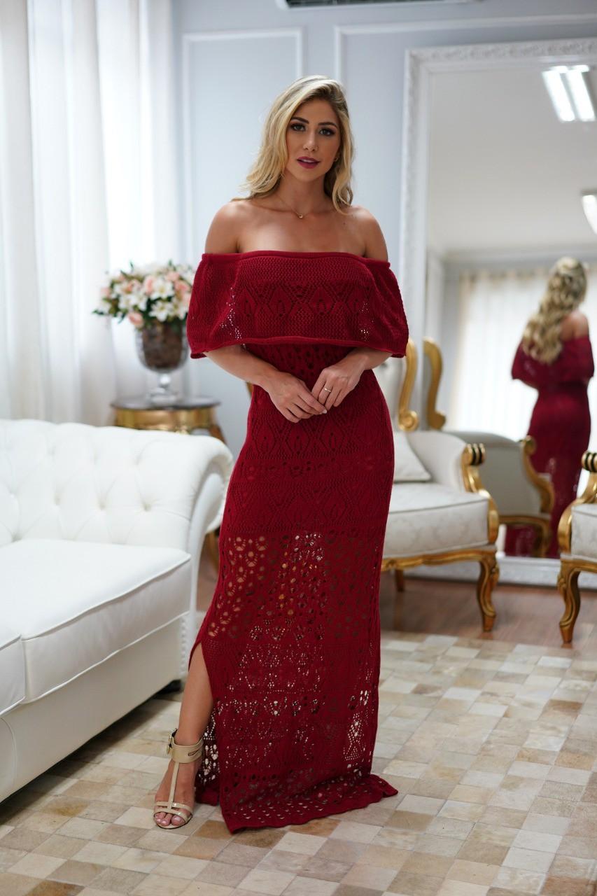 Vestido de Tricot Ciganinha Longo Vermelho