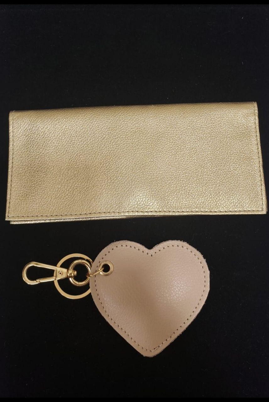 Kit Carteira e Chaveiro de Coração Dourado