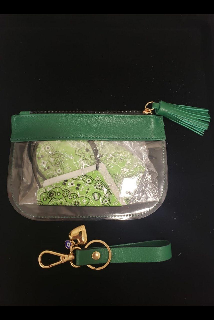 Kit Necessaire Verde, Mascara e Chaveiro com Olho Grego