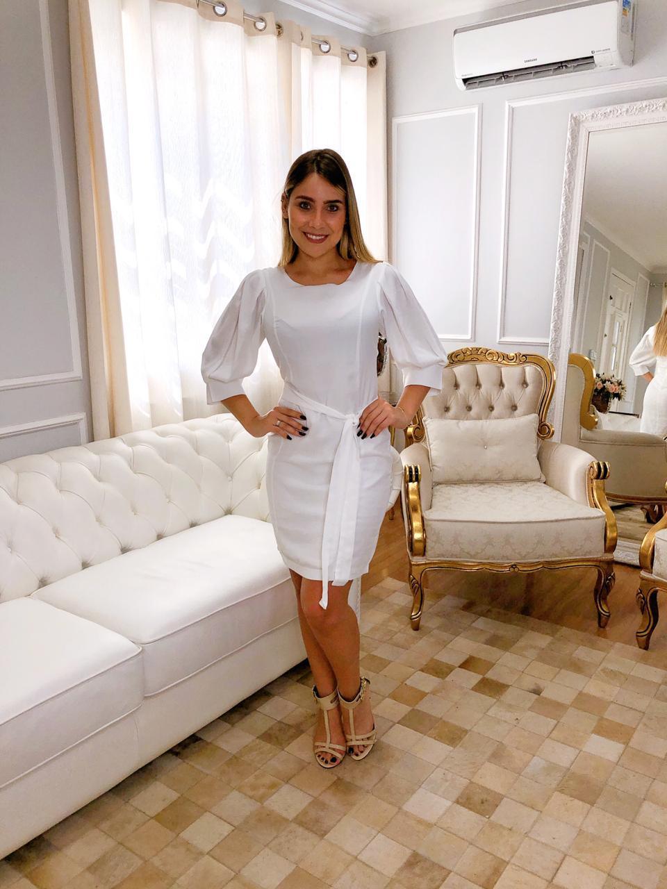 Vestido de Linho com Amarração Branco