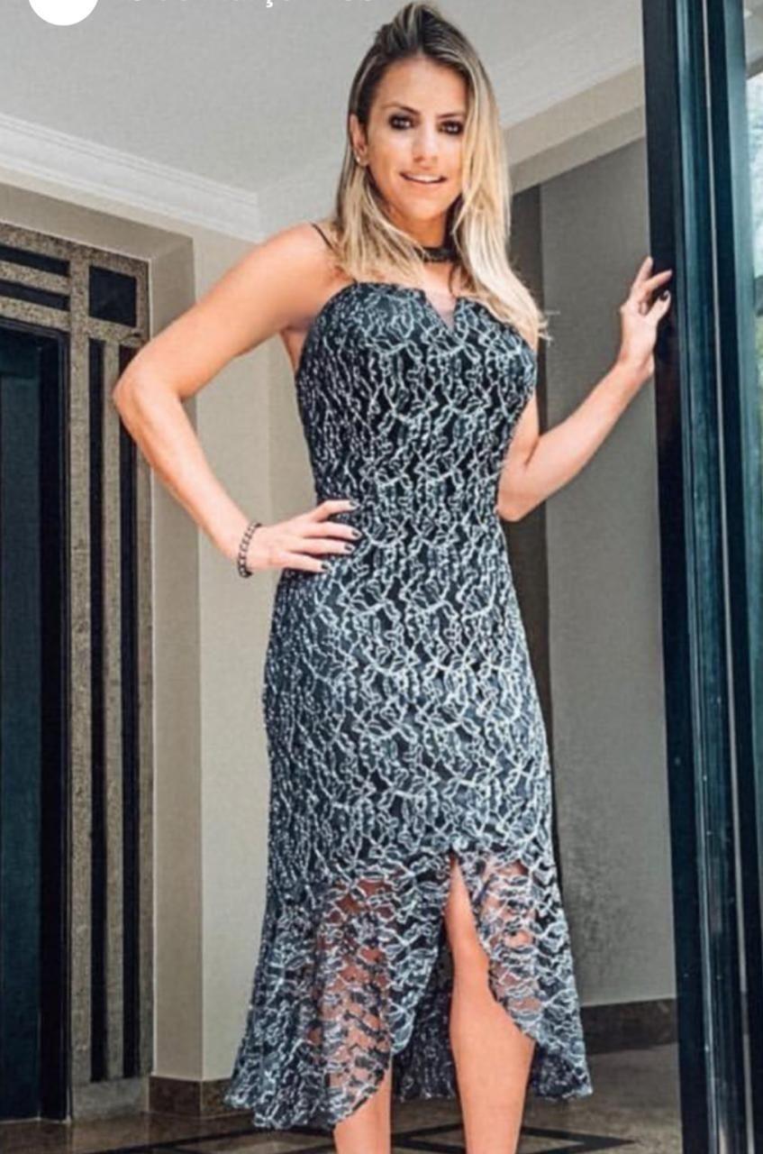 Vestido de Renda Preto  Midi com Alças Detalhes com Lurex