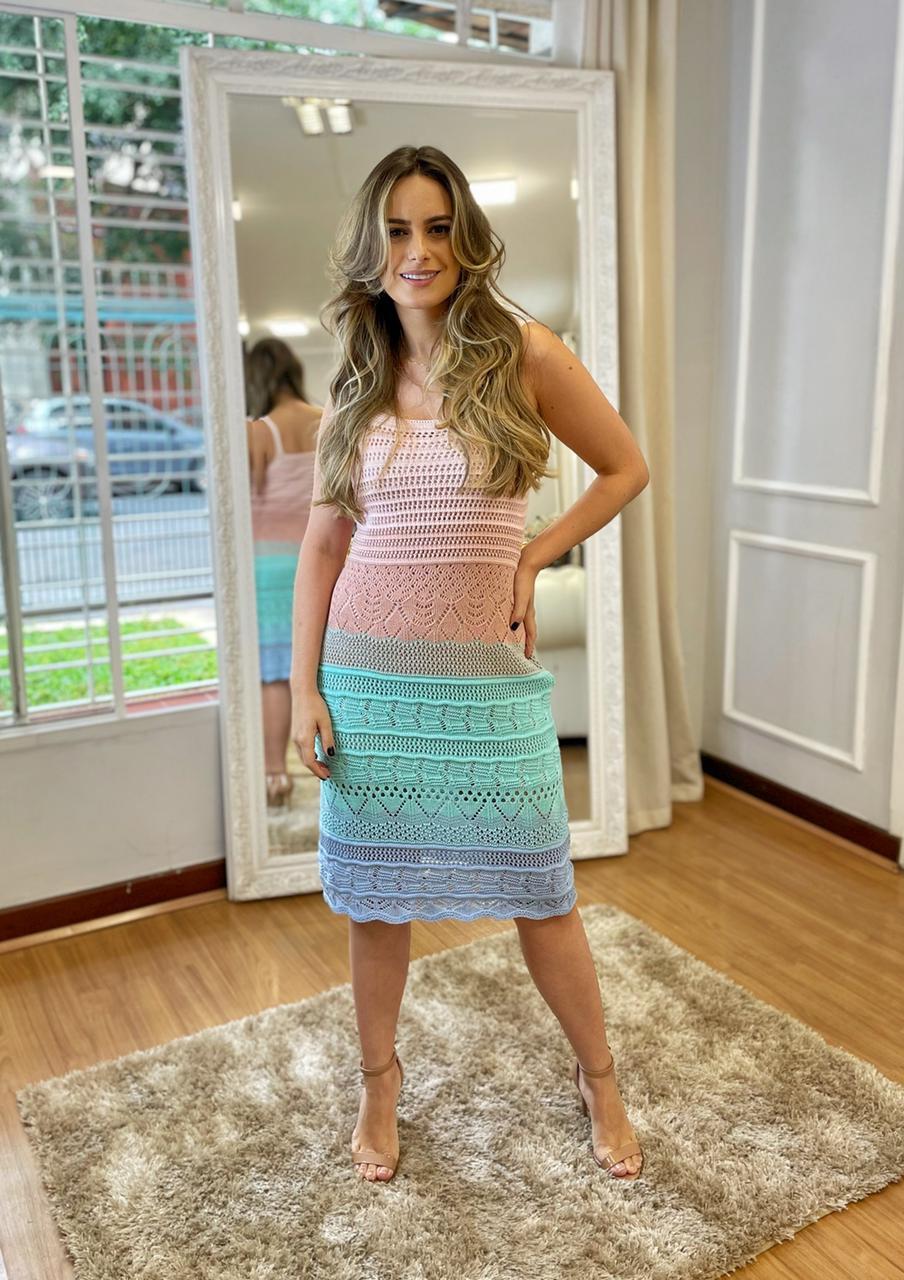 Vestido de Tricor Alças Curto Degrade Colors