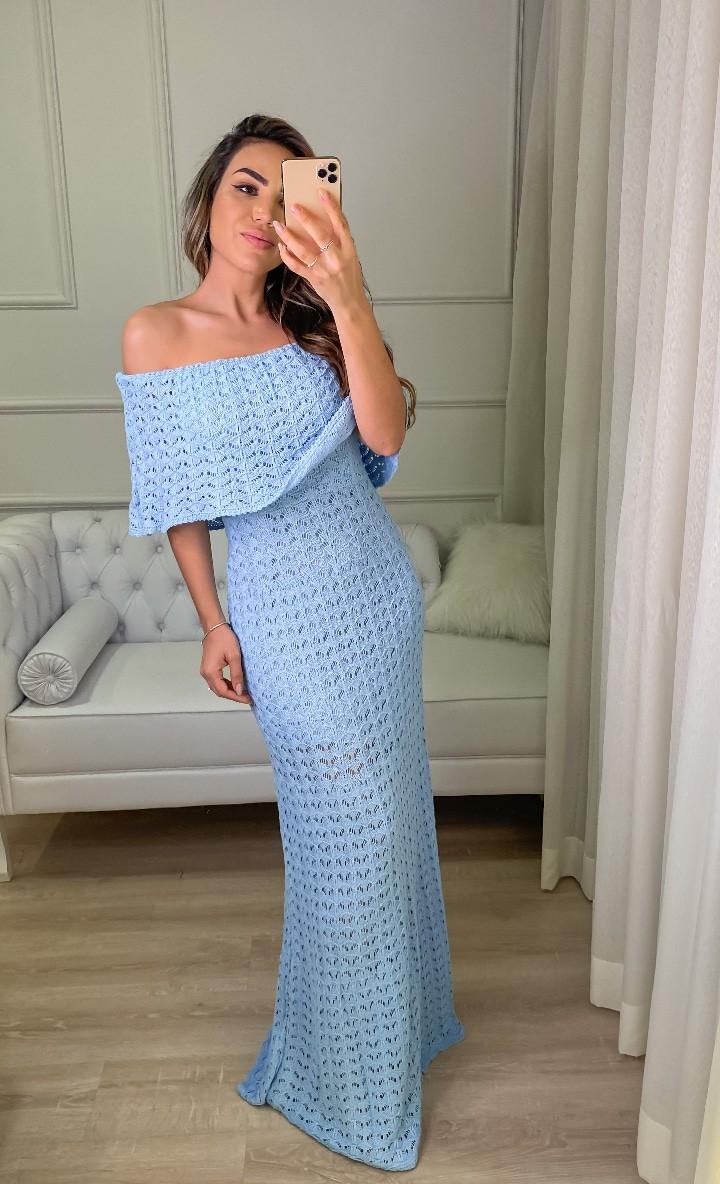Vestido de Tricot Ciganinha Longo Azul com Escamas